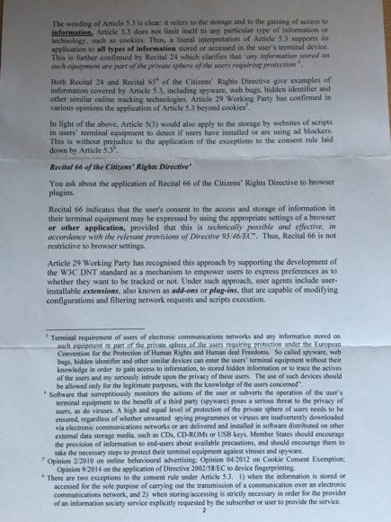 Page 2 de l'avis de la Commission Européenne concernant les détecteurs d'Ad-Blockers